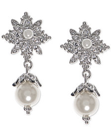 Marchesa Silver-Tone Pavé & Imitation Pearl Drop Earrings