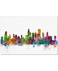 "Michael Tompsett Chicago Illinois Skyline 16"" x 24"" Canvas Art Print"