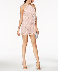 BCBGeneration Flower-Appliqué Halter Shift Dress