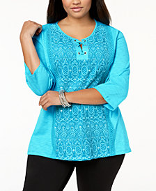 JM Collection Plus Size Cotton Peasant Top, Created for Macy's
