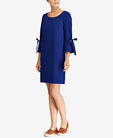 Lauren Ralph Lauren Lace-Up-Sleeve Cotton Dress