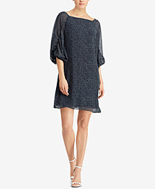 Lauren Ralph Lauren Dot-Print Crepe Dress