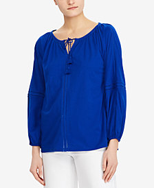 Lauren Ralph Lauren Crinkled Cotton Top