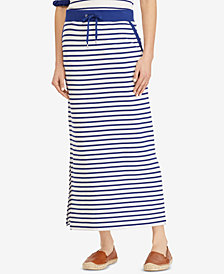 Lauren Ralph Lauren Striped French Terry Cotton Maxiskirt