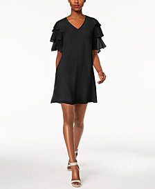 Calvin Klein V-Neck Tiered Chiffon Dress