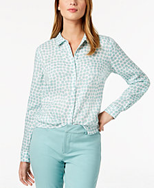 Charter Club Linen Tab-Sleeve Shirt, Created for Macy's
