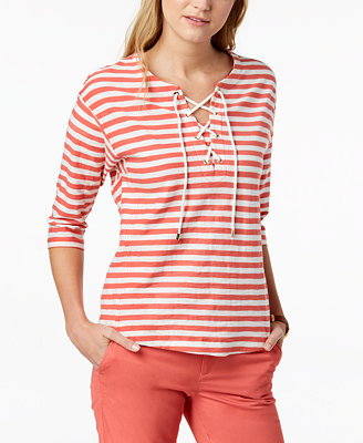 Cotton Lace Up Top, Created For Macy's by Tommy Hilfiger