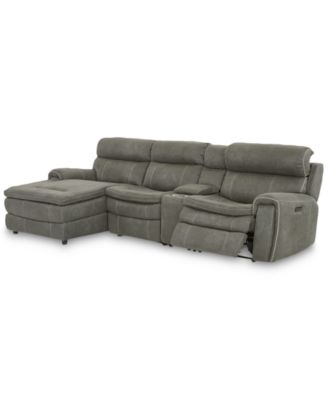 """CLOSEOUT! Leilany 124"""" 4-Pc. Fabric Chaise Sectional Sofa with 1 Power Recliner, Power Headrests, Console and USB Power Outlet"""