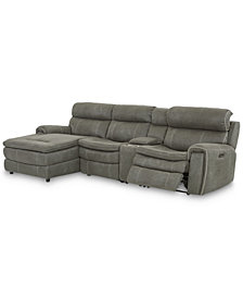 "Leilany 124"" 4-Pc. Fabric Chaise Sectional Sofa with 1 Power Recliner, Power Headrests, Console and USB Power Outlet"