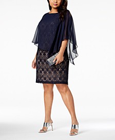 Plus Size Lace Cold-Shoulder Cape Dress