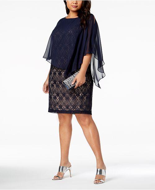Connected Plus Size Lace Cold-Shoulder Cape Dress