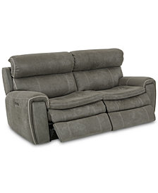 "CLOSEOUT! Leilany 80"" 2-Pc. Fabric Power Reclining Sofa With 2 Power Recliners, Power Headrests And USB Power Outlet"