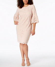 Calvin Klein Plus Bell-Sleeve Eyelet Sheath Dress