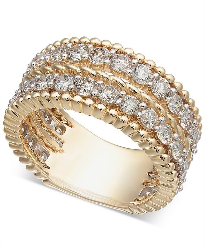 Macy's - Diamond Rope-Style Two-Row Statement Ring (2-1/2 ct. t.w.)