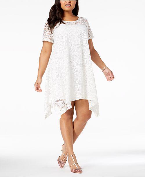 Robbie Bee Plus Size Lace Trapeze Dress & Reviews - Dresses ...