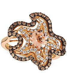 Le Vian® Peach Morganite™ (5/8 ct. t.w.) & Diamond (5/8 ct. t.w.) Starfish Ring in 14k Strawberry Gold®