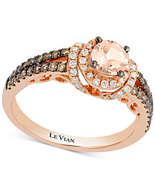 Le Vian Chocolatier® Peach Morganite™ (1/3 ct. t.w.) & Diamond (1/2 ct. t.w.) Ring in 14k Rose Gold