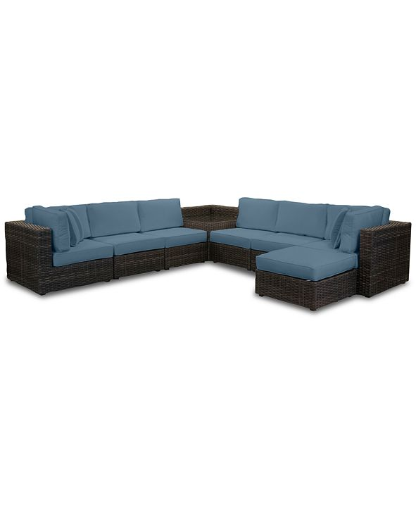 Furniture Viewport Outdoor 8-Pc. Modular Seating Set (2 Corner Units, 4 Armless Units, 1 Corner Table and 1 Ottoman) with Custom Sunbrella® Cushions, Created for Macy's