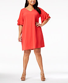 Jessica Howard Plus Size Ruffle-Sleeve Shift Dress