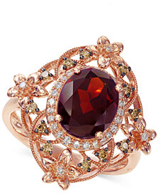 EFFY® Rhodolite Garnet (3 ct. t.w.) & Diamond (1/4 ct. t.w.) Ring in 14k Rose Gold