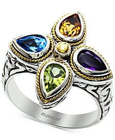 EFFY® Multi-Gemstone (1-5/8 ct. t.w.) Ring in Sterling Silver & 18k Gold