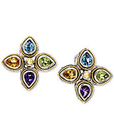 EFFY® Multi-Gemstone Stud Earrings (2-1/2 ct. t.w.) in Sterling Silver & 18k Gold