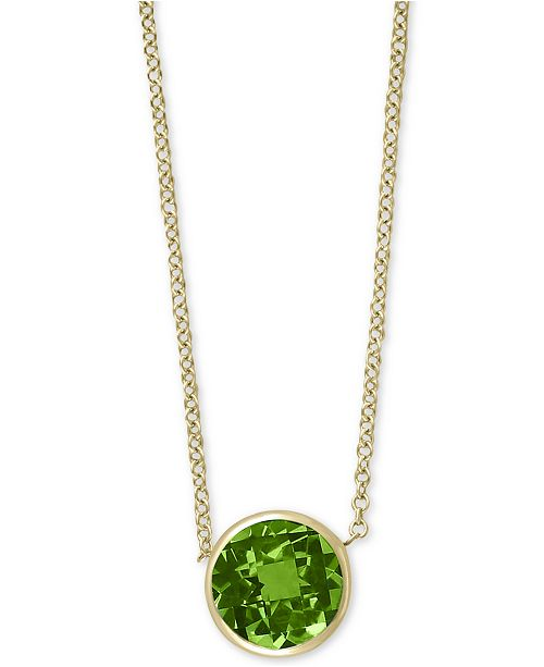 "EFFY Collection EFFY® Peridot 18"" Pendant Necklace (9/10 ct. t.w.) in 14k Gold"