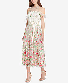 Tahari Embroidered Cold-Shoulder Midi Dress