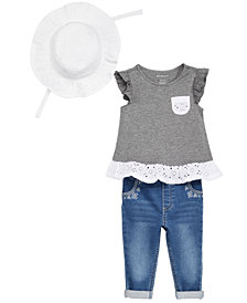 First Impressions Eyelet Tunic, Jeans & Sun Hat Separates, Baby Girls, Created for Macy's