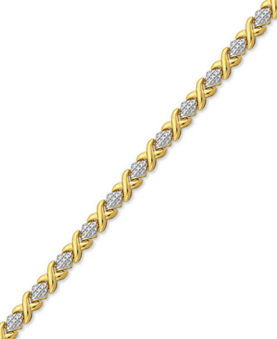 Diamond Accent X Link Bracelet in Gold over Fine Silver-Plate