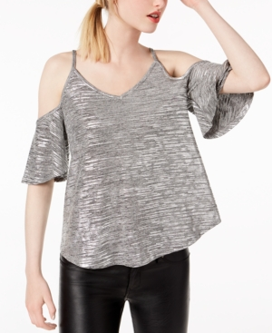 3e39c1188731d Click here for Bar Iii Metallic Spacedyed Cold-Shoulder Top Crea... prices