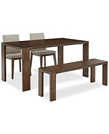Closeout! Crosby Dining 4-Pc. Set (Table, 2 Upholstered Side Chairs & 1 Bench), Created for Macy's