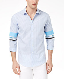 I.N.C. Men's Striped Track Sleeve Shirt, Created for Macy's