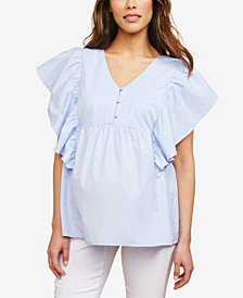 Motherhood Maternity Ruffled Flutter-Sleeve Blouse
