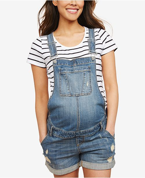 Indigo Blue Motherhood Maternity Denim Overalls