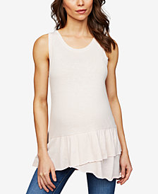 A Pea In The Pod Maternity Ruffled Sleeveless Blouse