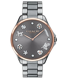 COACH Women's Modern Sport Gray Stainless Steel Bracelet Watch 38mm