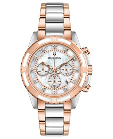 Women's Chronograph Diamond-Accent Two-Tone Stainless Steel Bracelet Watch 36mm