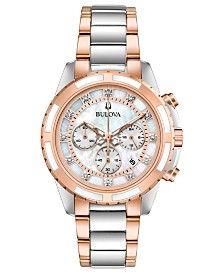 Bulova Women's Chronograph Diamond-Accent Two-Tone Stainless Steel Bracelet Watch 36mm