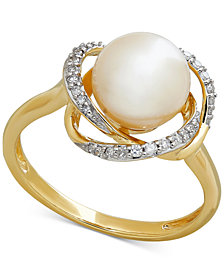Cultured Freshwater Pearl (8mm) & Diamond (1/8 ct. t.w.) Ring in 14k Gold