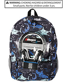 FAB Little & Big Boys Shark-Print Backpack & Headphones