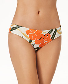 Vince Camuto Printed Shirred Cheeky Bikini Bottoms