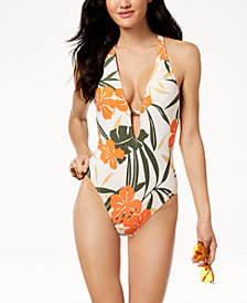 Vince Camuto Printed Plunging Strappy-Back Cheeky One-Piece Swimsuit