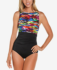 Reebok Mad Dash Printed High-Neck One-Piece Swimsuit