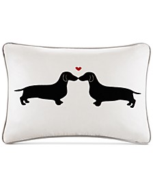 "L'amour 14"" x 20"" Kissing Dog Appliqué Oblong Decorative Pillow"