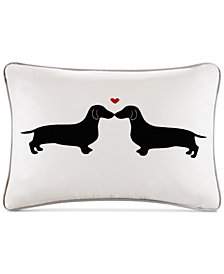 "HipStyle L'amour 14"" x 20"" Kissing Dog Appliqué Oblong Decorative Pillow"