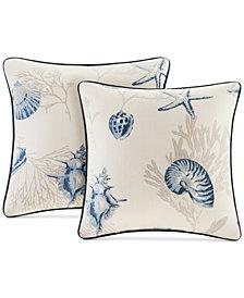 "Madison Park Bayside Reversible 20"" Square Printed Pillow Pair"