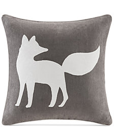 "Madison Park Faux-Suede Fox Appliqué 20"" Square Decorative Pillow"