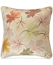 "Madison Park Faux-Suede Fallen Leaves Embroidered 20"" Square Decorative Pillow"