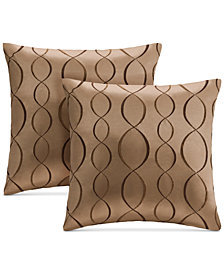 """Madison Park Serendipity 20"""" Square Ogee-Embroidered Taffeta Pair of Decorative Pillows"""